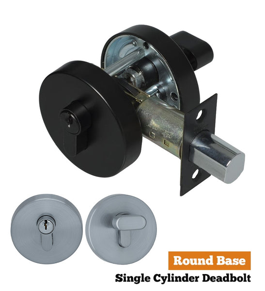 S range single cylinder deadbolt - Round Base