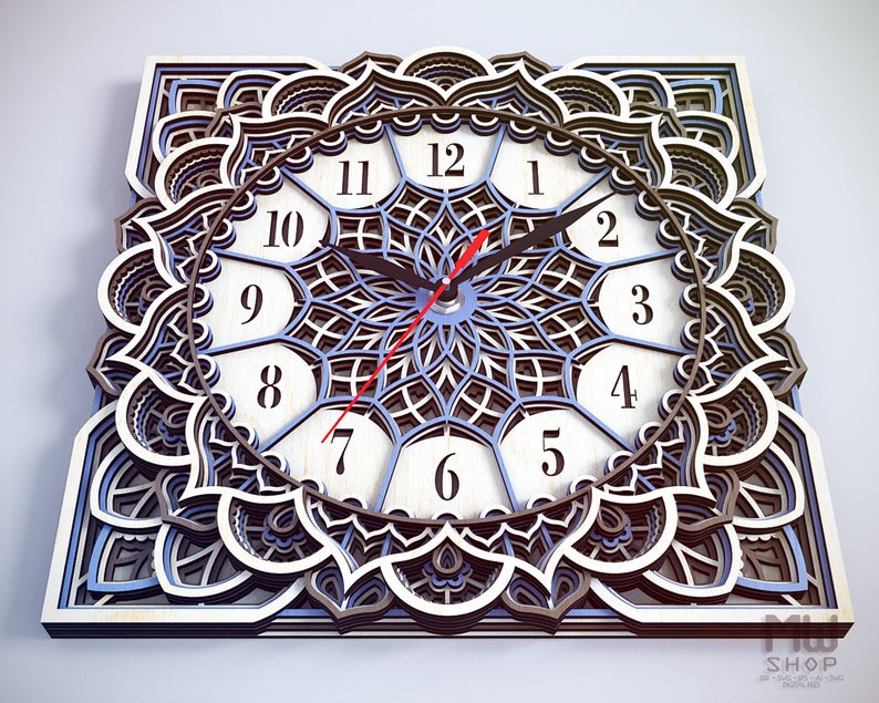 Square Mandala - Wall Clock