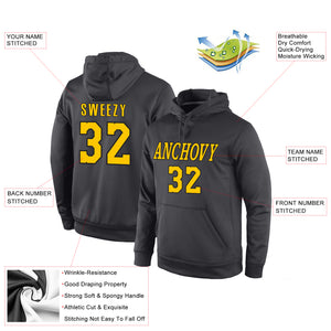 Custom Stitched Anthracite Gold-Black Sports Pullover Sweatshirt Hoodie