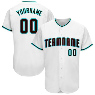 Custom White Black-Aqua Baseball Jersey