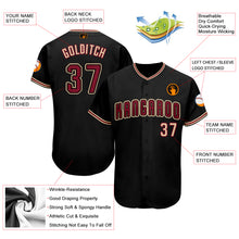 Load image into Gallery viewer, Custom Black Crimson-Khaki Baseball Jersey