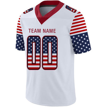 Custom White Red-Black USA Flag Fashion Football Jersey