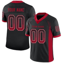 Load image into Gallery viewer, Custom Black Red-Gray Mesh Drift Fashion Football Jersey