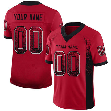 Custom Red Black-Gray Mesh Drift Fashion Football Jersey