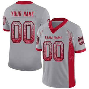 Custom Light Gray Red-Black Mesh Drift Fashion Football Jersey