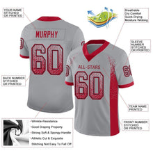 Load image into Gallery viewer, Custom Light Gray Red-Black Mesh Drift Fashion Football Jersey