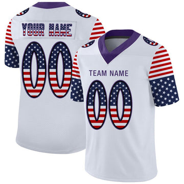 Custom White Purple-Black USA Flag Fashion Football Jersey