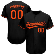 Load image into Gallery viewer, Custom Black Orange Baseball Jersey