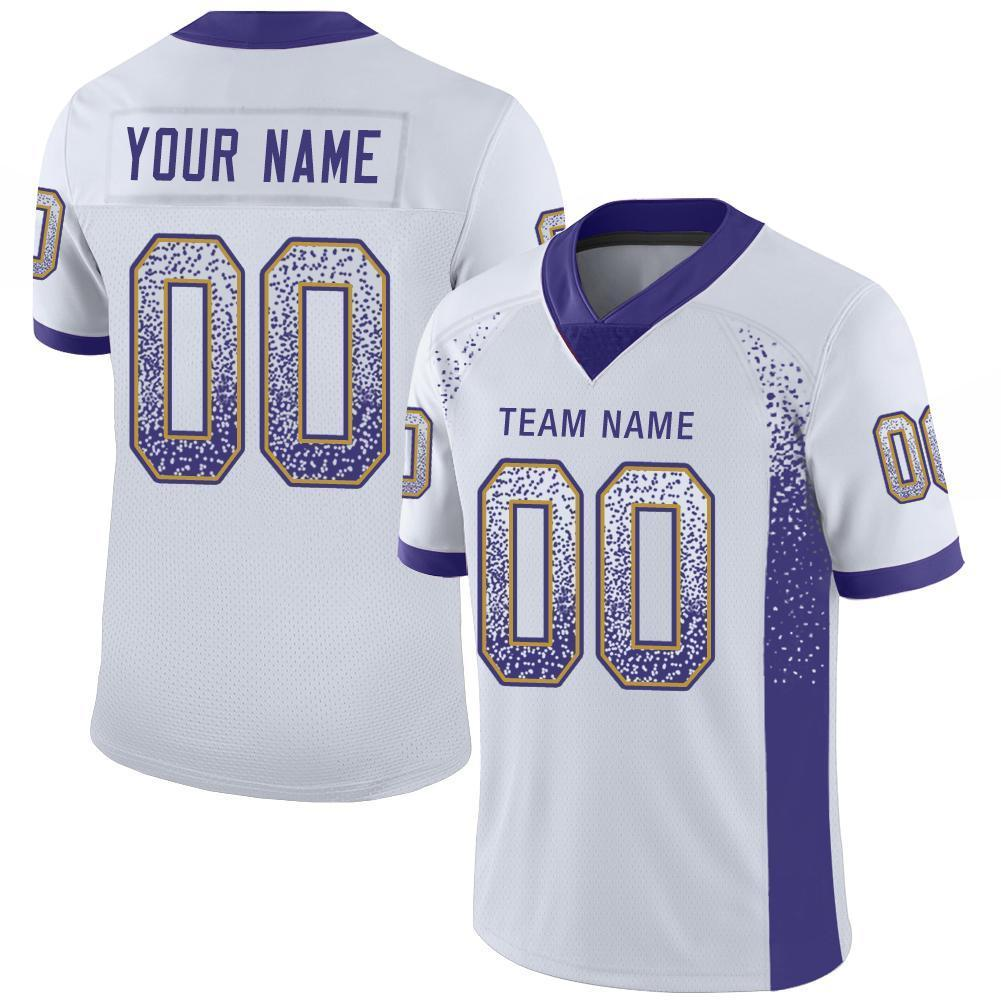 Custom White Purple-Old Gold Mesh Drift Fashion Football Jersey