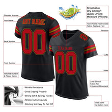 Load image into Gallery viewer, Custom Black Red-Old Gold Mesh Authentic Football Jersey