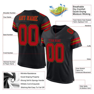 Custom Black Red-Old Gold Mesh Authentic Football Jersey