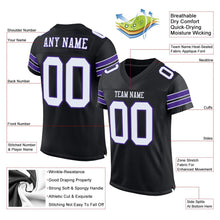 Load image into Gallery viewer, Custom Black White-Purple Mesh Authentic Football Jersey
