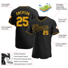 Load image into Gallery viewer, Custom Black Gold-Black Authentic Baseball Jersey