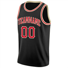 Load image into Gallery viewer, Custom Black Red-Cream Round Neck Rib-Knit Basketball Jersey