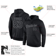 Load image into Gallery viewer, Custom Stitched Black Black-Gray Sports Pullover Sweatshirt Hoodie