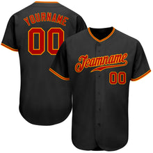 Load image into Gallery viewer, Custom Black Red-Gold Authentic Baseball Jersey
