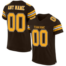 Load image into Gallery viewer, Custom Brown Gold-White Mesh Authentic Football Jersey