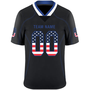 Custom Lights Out Black Royal-White USA Flag Fashion Football Jersey