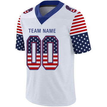Custom White Royal-Red USA Flag Fashion Football Jersey