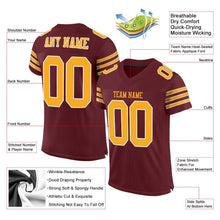 Load image into Gallery viewer, Custom Burgundy Gold-White Mesh Authentic Football Jersey