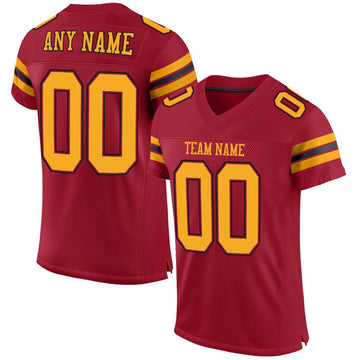 Custom Cardinal Gold-Black Mesh Authentic Football Jersey