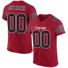 Load image into Gallery viewer, Custom Cardinal Black-White Mesh Authentic Football Jersey