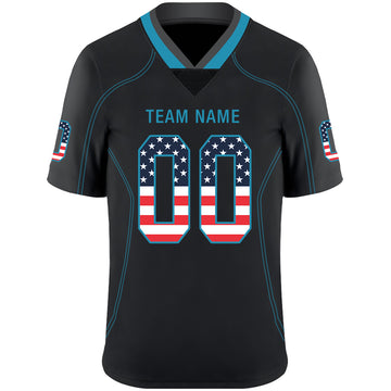 Custom Lights Out Black Panther Blue-Gray USA Flag Fashion Football Jersey
