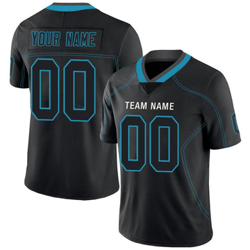Custom Lights Out Black Panther Blue-Gray Football Jersey