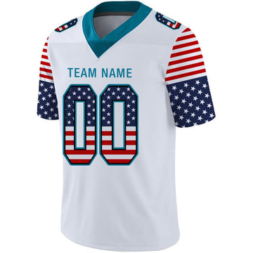 Custom White Panther Blue-Black USA Flag Fashion Football Jersey
