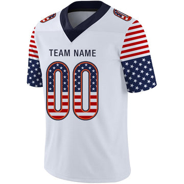 Custom White Navy-Orange USA Flag Fashion Football Jersey
