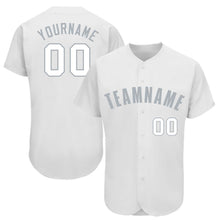 Load image into Gallery viewer, Custom White Gray Baseball Jersey