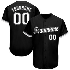 Custom Black White-Gray Baseball Jersey