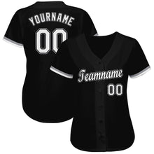Load image into Gallery viewer, Custom Black White-Gray Baseball Jersey