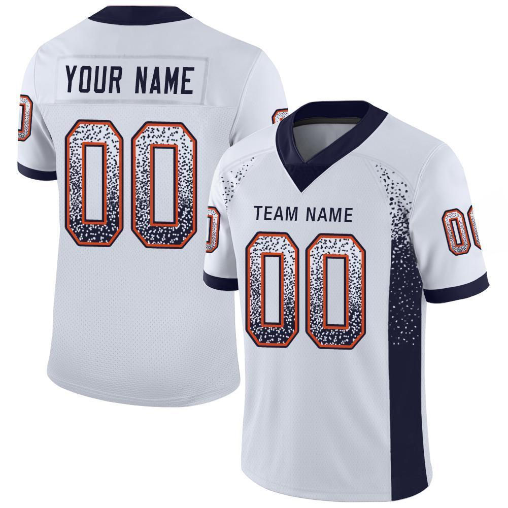 Custom White Navy-Orange Mesh Drift Fashion Football Jersey