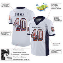 Load image into Gallery viewer, Custom White Navy-Orange Mesh Drift Fashion Football Jersey