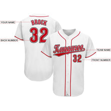 Load image into Gallery viewer, Custom White Red-Black Baseball Jersey