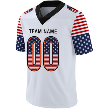 Custom White Black-Orange USA Flag Fashion Football Jersey