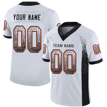 Custom White Black-Orange Mesh Drift Fashion Football Jersey
