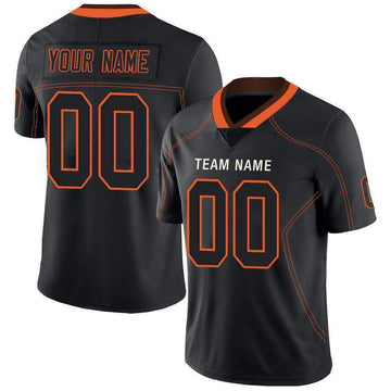 Custom Lights Out Black Orange-Brown Football Jersey