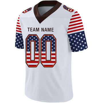 Custom White Brown-Orange USA Flag Fashion Football Jersey