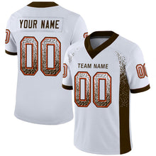 Load image into Gallery viewer, Custom White Brown-Orange Mesh Drift Fashion Football Jersey