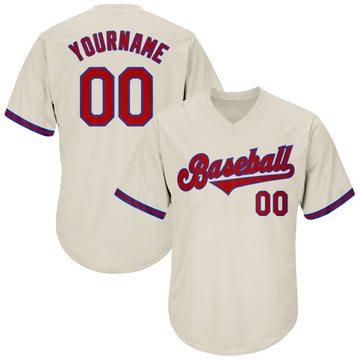 Custom Cream Red-Royal Authentic Throwback Rib-Knit Baseball Jersey Shirt