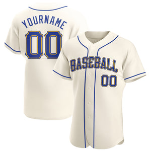 Custom Cream Royal-Gold Authentic Baseball Jersey