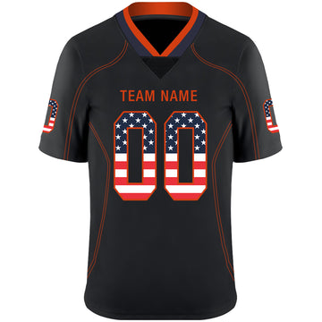 Custom Lights Out Black Orange-Navy USA Flag Fashion Football Jersey