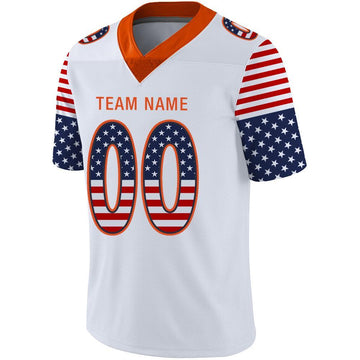 Custom White Orange-Navy USA Flag Fashion Football Jersey