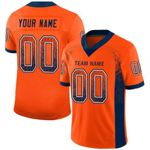 Load image into Gallery viewer, Custom Orange Navy-White Mesh Drift Fashion Football Jersey