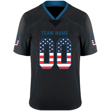 Custom Lights Out Black Powder Blue-Red USA Flag Fashion Football Jersey