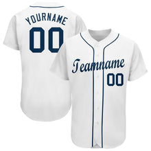 Load image into Gallery viewer, Custom White Navy Baseball Jersey