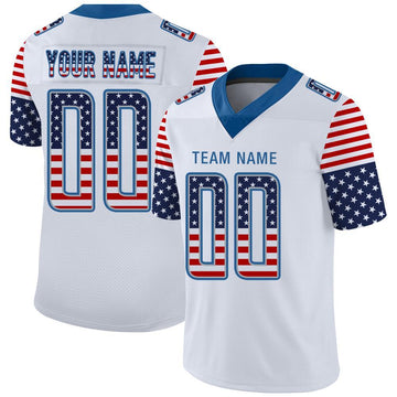 Custom White Powder Blue-Gray USA Flag Fashion Football Jersey
