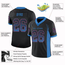 Load image into Gallery viewer, Custom Black Powder Blue-Red Mesh Drift Fashion Football Jersey